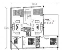پلان ساختمان مسکونی ۵ طبقه (۲ خواب)